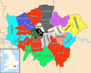 Nejčastější menšinové jazyky v londýnských obvodech