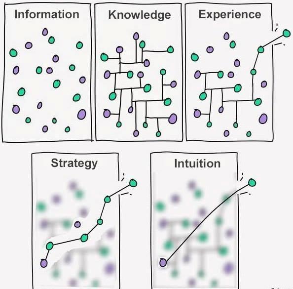 Rozdíl mezi informacemi, vědomostmi, zkušeností, strategií a intuicí